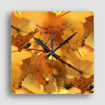 SQUARE WALL CLOCK ~ 'Canopy of Gold' w/Maple Leaf Design / S