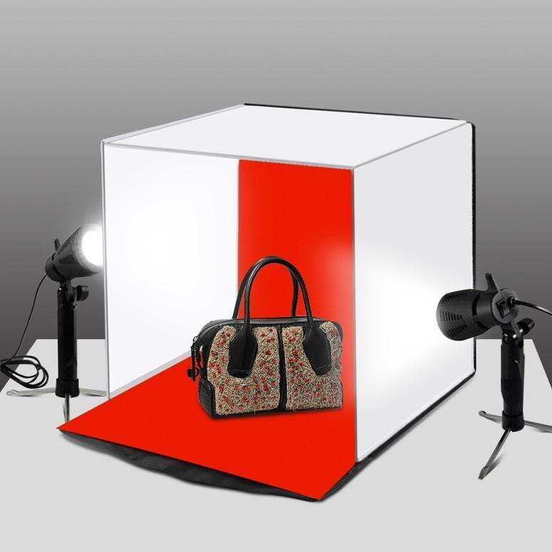 Double LED Light Room Photo Studio Photography Lighting Tent Backdrop Cube Box B