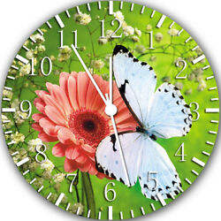 Butterfly & Flowers Frameless Borderless Wall Clock Nice For Gifts or Decor W379