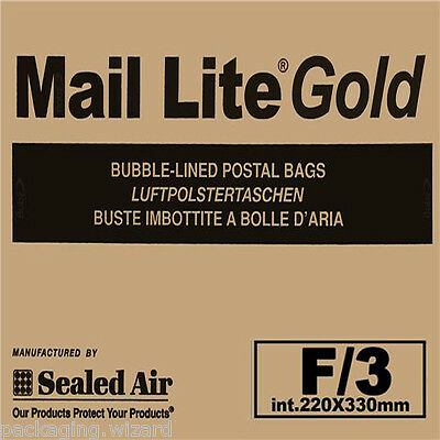 50 x Mail Lite Sealed Air ~ Gold Padded Postal Envelopes / Bags 220 x 330mm F/3