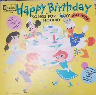 Walt Disney Disneyland Record LP Happy Birthday and Songs for Every Holiday 1214