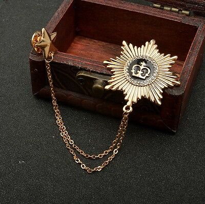 Unisex Rose Gold Royal Star Medal Crown Enamel Chain Chic Pin Brooch Gift P29
