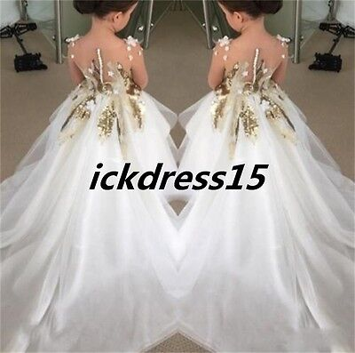 Sequins Fashion Wedding Party Formal Flower Girls Dresses baby Pageant Gown 2017