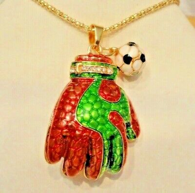 Betsey Johnson Jewelry ENAMEL FINISH SOCCER GLOVE w/ BALL Women Pendant,Necklace