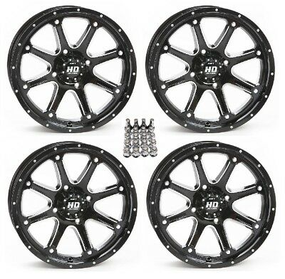 "STI HD4 ATV Wheels/Rims Black 12"" Yamaha Grizzly Rhino (4) for sale  Middleport"