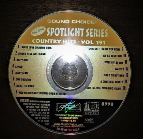 SOUND CHOICE KARAOKE SPOTLIGHT CD+G - 8998 - COUNTRY HITS VOL 191 - CDG