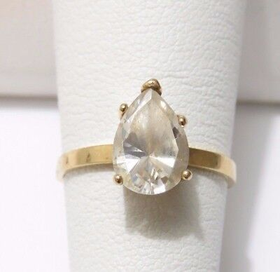 1.25 Ct Pear Shaped Cubic Zirconia Solitaire Engagement Ring 14k Gold Size -