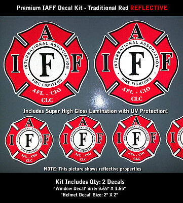 IAFF Firefighter Decals Traditional Red Black Reflective 2pc Kit Laminated 0074