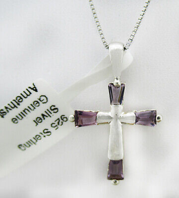GENUINE 0.93 Cts AMETHYST CROSS PENDANT NECKLACE .925 Silver *New with Tag*