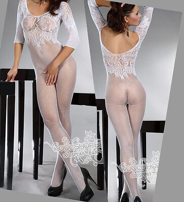 Fishnet Babydoll Dress Sexy Lingerie Underwear open crotch BODYSTOCKING white Q8