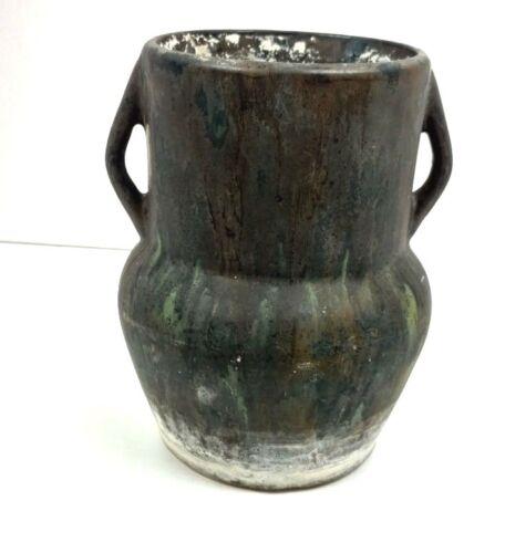 Antique Vase Pottery Double Handle Matt Gray Mottled Glaze Old Pot Jar Vessel