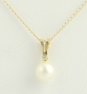 "New Freshwater Pearl Pendant Necklace - 10k Yellow Gold 18"" Chain Diamond Accent"