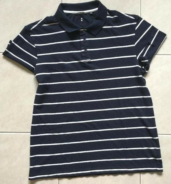 Blue and white striped Polo Tee