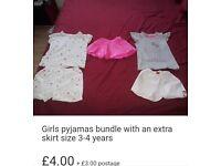 Girls pyjamas bundle with an extra skirt size 3-4 years