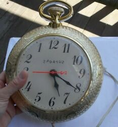 Vintage 7.5 Spartus Backwards Wall Clock Electric Working USA Pocket Watch Form