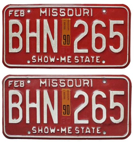 Missouri 1980 1990 Maroon License Plate Pair, BHN 265, DMV Clear Number, YOM