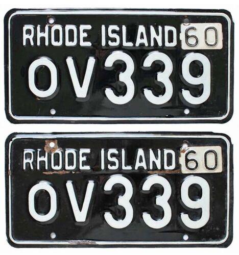Vintage Rhode Island 1959 1960 License Plate Pair, OV 339, Black Beauties