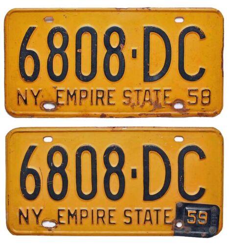 Vintage New York 1958 License Plate Pair, 1959 Tab, Dutchess County