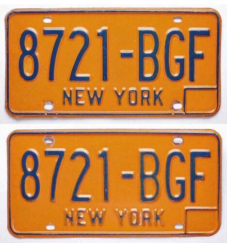 Vintage New York 1973-1986 License Plate Pair, 8721-BGF