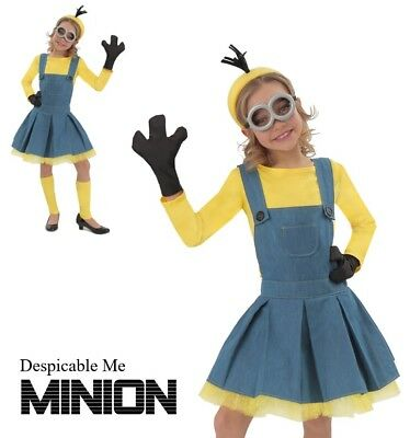 Girls Deluxe Despicable Me Minion Jumper - Girls Funny Halloween Costume