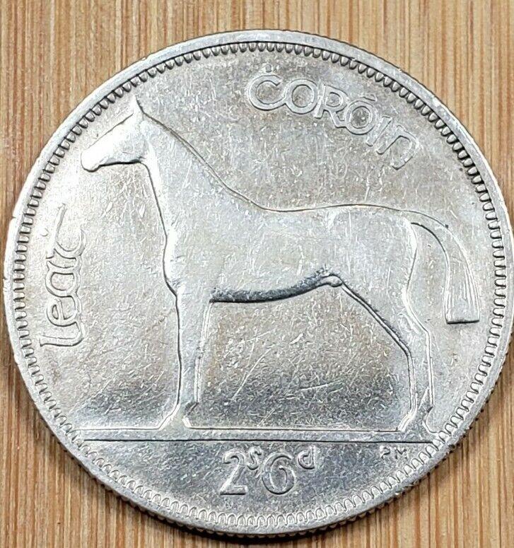 1934 Ireland 1/2 Crown HORSE 2s6d Silver coin