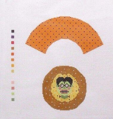 Needledeeva Halloween Frankenstein Cupcake Handpainted Needlepoint - Frankenstein Halloween Cupcakes