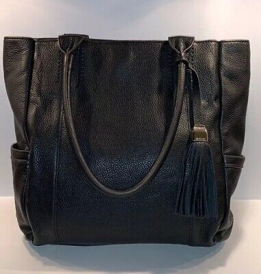 B. Makowsky large black pebbled leather tote bag Handbag Purse
