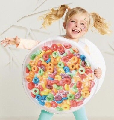 Cereal Bowl Fruit Loops Costume Toddler One Size Halloween Funny Dress Up NWT