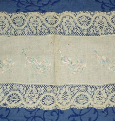 Antique Society Silk Victorian Hand Embroidery Tablerunner Dresser Scarf-Peacock