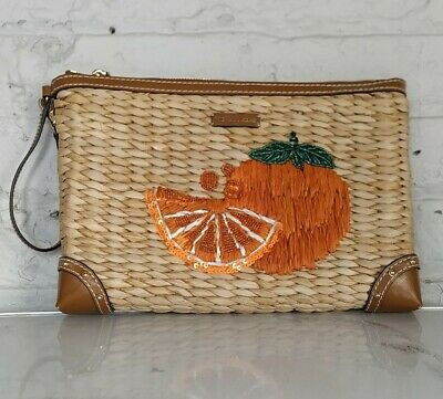 Michael Kors Tangerine Orange  Straw + Leather Summer Fruit Clutch Bag Purse