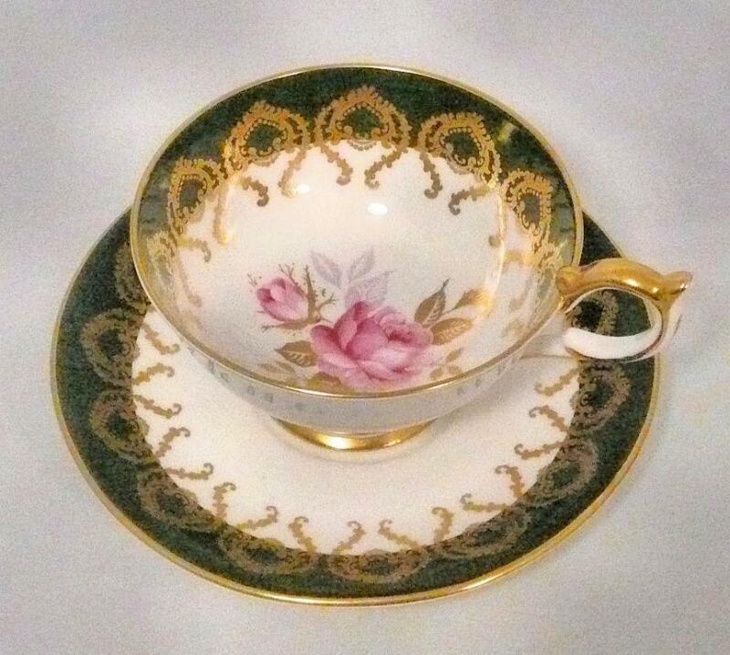 Stunning Aynsley Large Rose & Green w/Gold Filligree Cup & Saucer