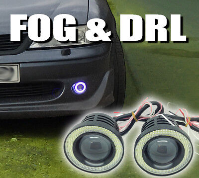 Fits Chevrolet ALL   Projector Cob LED Fog DRL Spot Lights Angel Eyes Pair