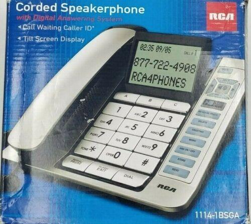 RCA Corded Landline Office Home Speaker Phone Answering Sys Caller ID 1114-1BSGA