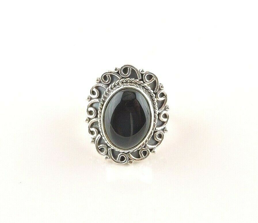 Sterling Silver 14 ct Oval Black Onyx Ring
