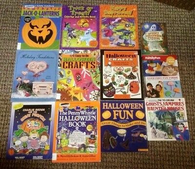 Kid Halloween Projects (Lot of 13 HALLOWEEN Activities Projects Crafts Recipes Drawing Books)