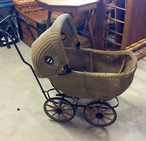 Antique wicker doll carriage Kingston Kingston Area image 1