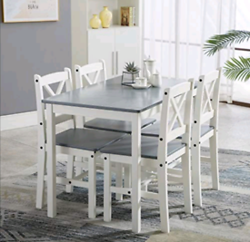Wooden Dining Table and 4 Chairs Set Kitchen Home (Gray)