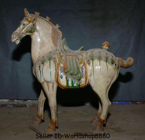"18.4"" Old China Tang San Cai White Glaze Pottery Dynasty Tang War Horse Statue"
