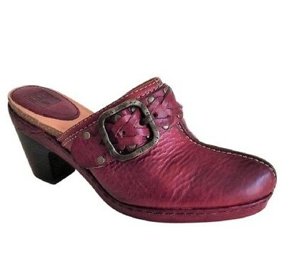 Frye Women's Candice Woven Clogs Mules Shoes Size 8 Heels Burgundy Booties $158