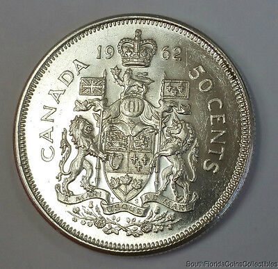 1962 Canada 50 Fifty Cents .800 Silver Uncirculated Coin