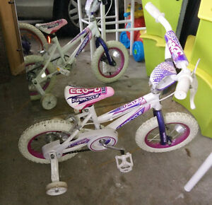 "12"" tire girls' bike with training wheels, good condition"