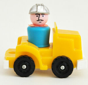 FISHER PRICE LITTLE PEOPLE BLUE WORKER & YELLOW TRUCK GREAT COND