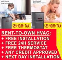RENT TO OWN FURNACE & AC - GUARANTEED APPROVAL - $2000 rebates
