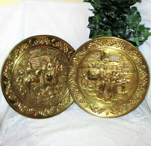"2 VINTAGE SOLID BRASS WALL PLAQUES 15.5"" ENGLAND HORSES COACH"