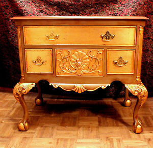 Hand-Carved solid all mahogany dresser, with gold leaf, designs