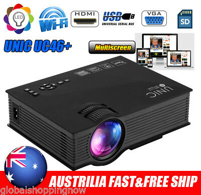 UC46+ Wifi Wireless HD 1080P LED Video Projector Home Theater SD/USB/VGA/HDMI AU