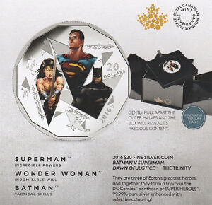2016 Silver $20 TRINITY BATMAN V SUPERMAN: DAWN OF JUSTICE Coin