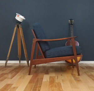 1950's Vintage Scandinavian Teak Lounge Chair Newly Refinished