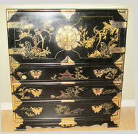 = = = = CHINESE BLACK LACQUER CABINET WITH BRASS HARDWARE= = = =