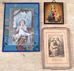 Antiquité. Collection. Anciennes images religieuses encadrées